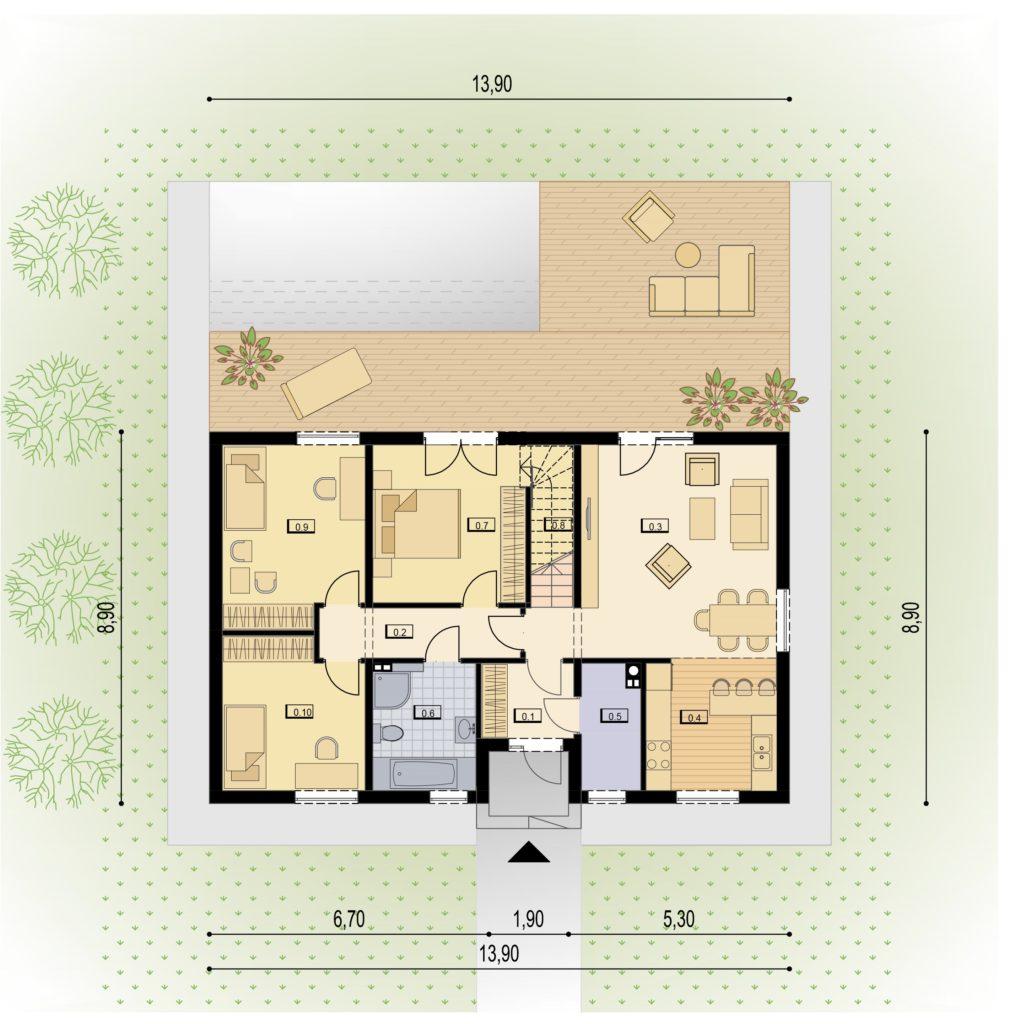 Grundriss Erdgeschoss HIT Home 160+40B