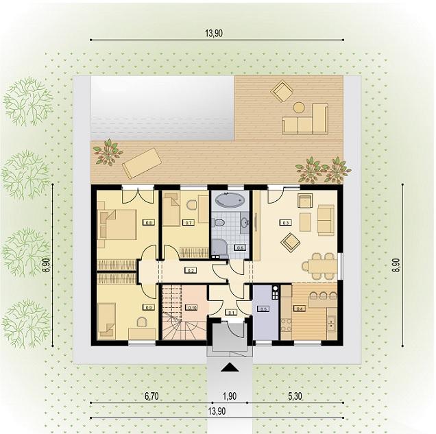 Grundriss Erdgeschoss Zweifamilienhaus HIT 200B